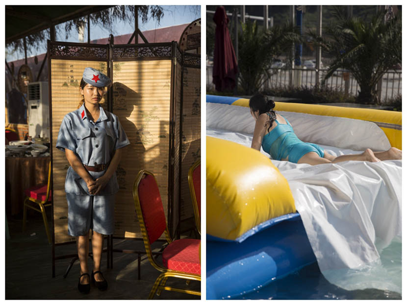 Left: A waitress in the Red Army uniform stands in front of a restaurant in Zunyi, Guizhou province, Aug. 20, 2016. Right: A woman plays on a large flotation device in a swimming pool in Zunyi, Guizhou province, Aug. 20, 2016. Chen Ronghui/Sixth Tone