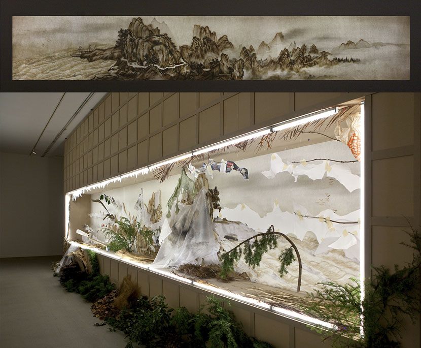 Top: A front view of 'Background Story: Ten Thousand Li of Mountains and Rivers'; bottom: a back view of the same work exhibited in Vancouver, Canada, 2014. Courtesy of Xu Bing